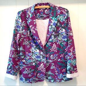 Isaac Mizrahi Live! Floral Knit Blazer-Purple